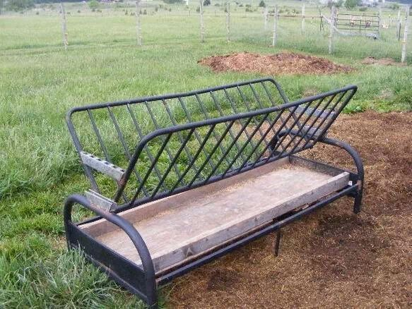 Turn a old futon in a hay feeder for animals.