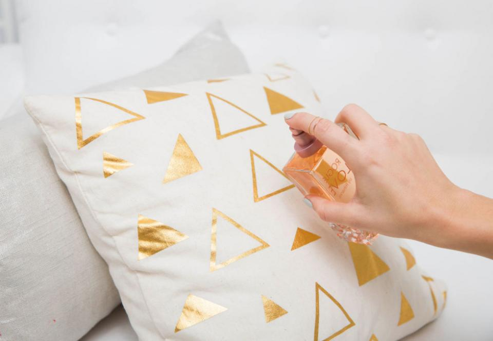 16. Spray your pillow with calming scents before heading to bed to help you sleep better.