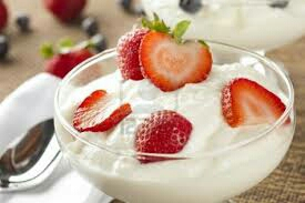 Eat plain greek yogurt for a source of protein, and top it with some fresh fruit. There are so many things you can do with greek yogurt; frozen greek yogurt pops, oatmeal topped with greek yogurt, greek yogurt smoothie, greek yogurt with granola, greek yogurt instead of mayo, and many more!