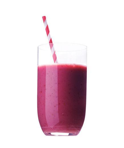 Mango and Raspberry Smoothie  Puree ½ cup coconut water, ½ cup frozen mango, ½ cup frozen raspberries, 2 ounces tofu, and 1 teaspoon agave nectar until smooth.  173 Calories   7g Fiber   6g Protein   2g Fat  
