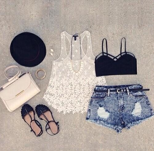 Sandals + denim shorts + a loose white tank top + black brassier = Perfect Summer Outfit