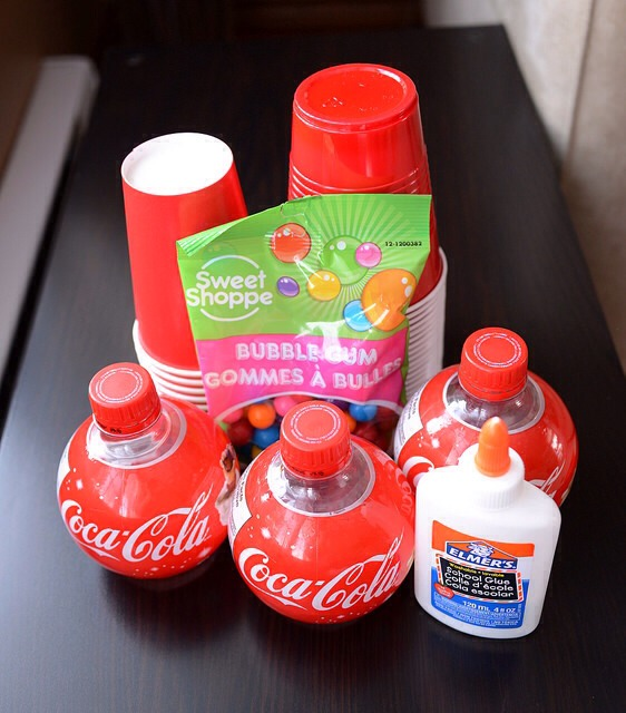 Coca-Cola special edition Christmas ball bottle red solo cups glue gumballs