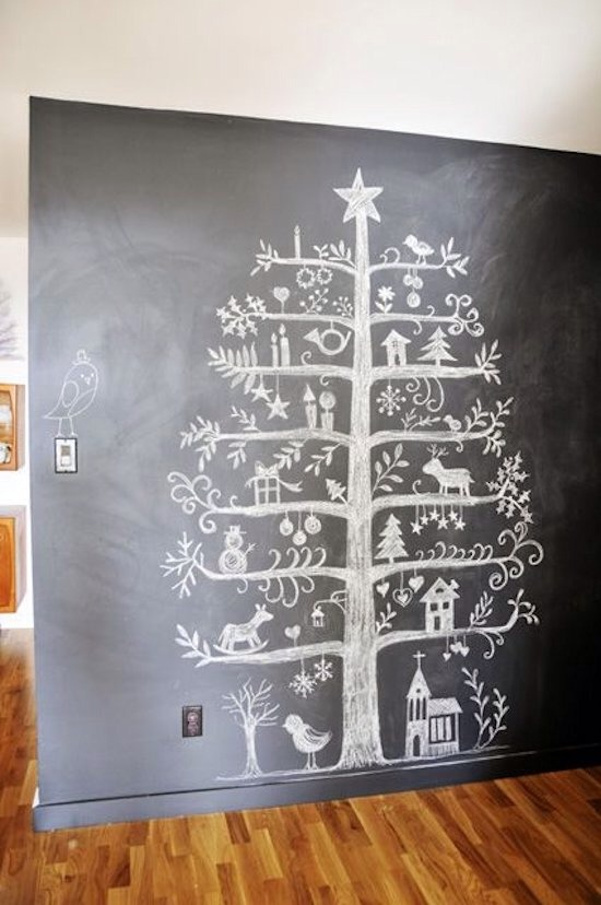 Chalkboard Tree #2  A beautiful rendition with Scandinvian folk art.