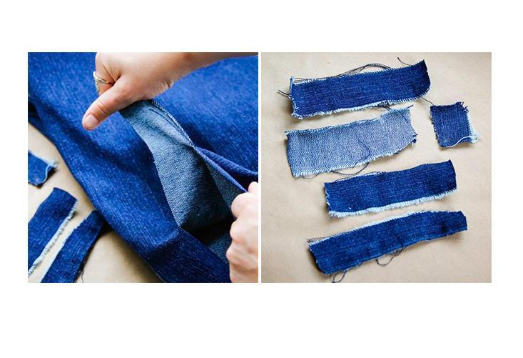 Supplies needed:  Old pair of jeans Mod Podge and foam brush A bowl to use as a shape  Start by ripping strips of denim about 4 to 5 inches long and a couple of inches wide. Being precise isn't necessary so there's no need to measure. But you do want to rip not cut to get the frayed edge.