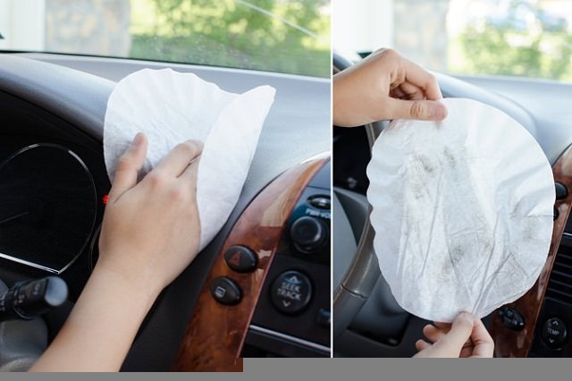 2.Wipe down the interior of your car with a coffee filter. Coffee filters are made of a lint-free paper that is perfect for dusting!