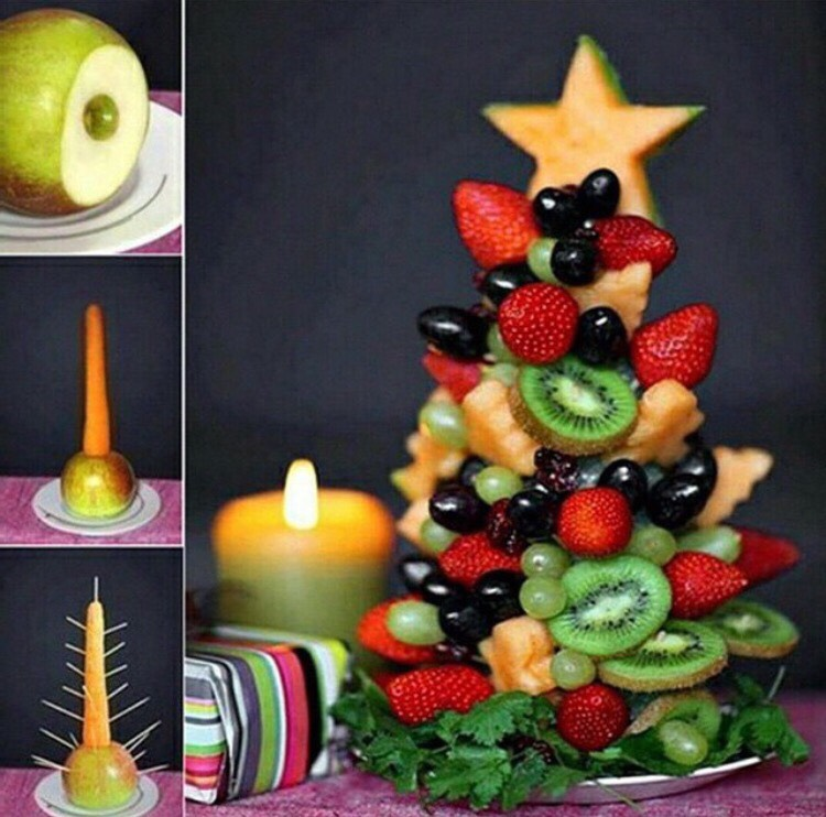 A cute And healthy idea for This holidays .!  Make your own christmas healthy tree ..!🎄💕