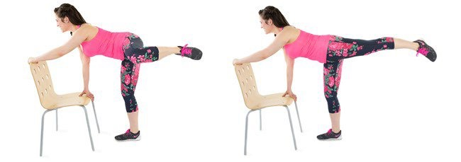 9. Booty Kicks: If you've got a sturdy chair, then this is a great addition to your at-home workout routine. You'll feel the burn in your supporting leg as you kick back. Don't worry if you can't get your leg as high up; just do what's comfortable. Get details on this move by clicking here.