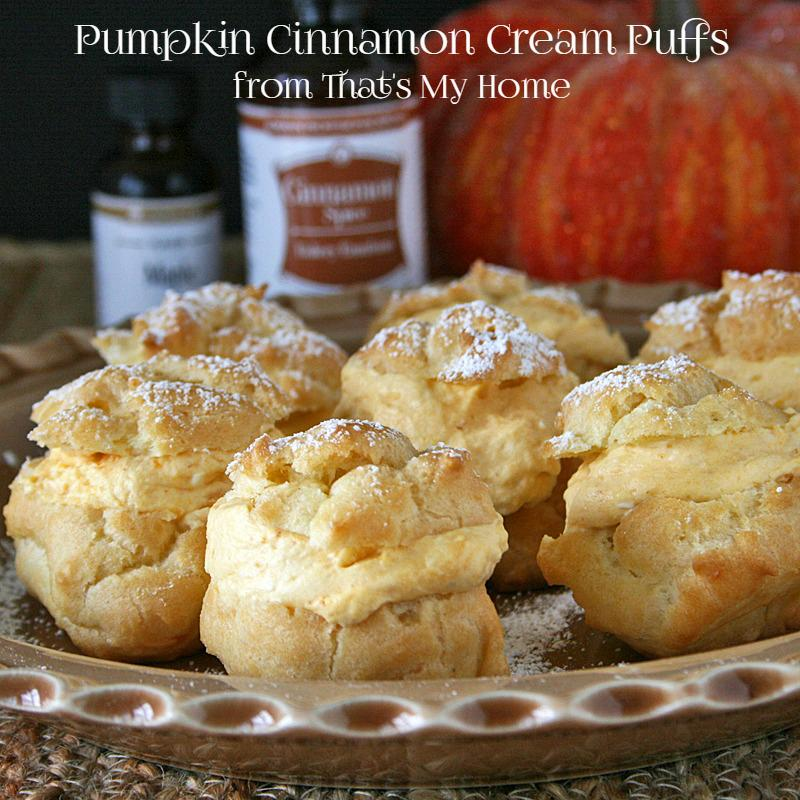 Cream puffs filled with a pumpkin cinnamon spice filling with a hint of maple. The filling is so light it melts in your mouth.