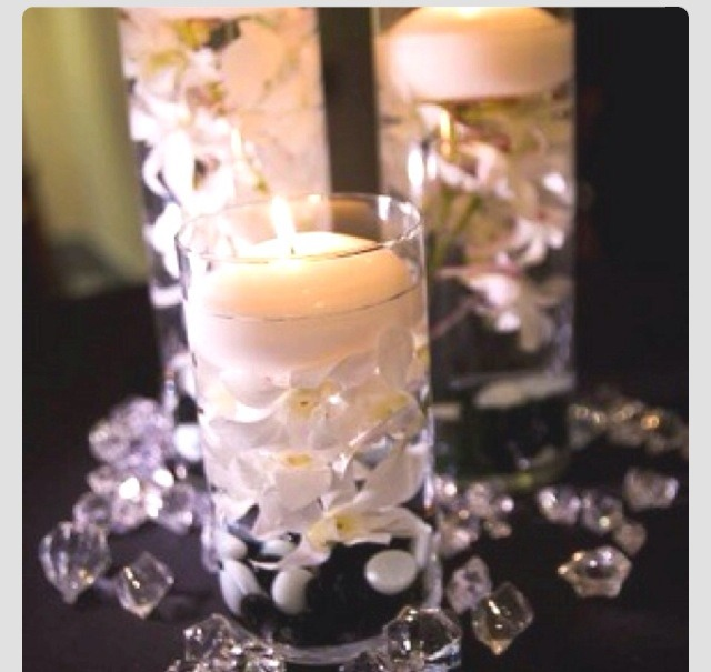 Floating candles, fake flowers, fake pearls & fake crystals
