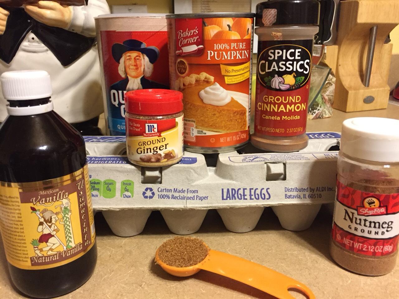Ingredients: 1/2c quick oats 1/8tsp ground ginger 1/8tsp ground nutmeg 1/4tsp ground cinnamon 1/2TBSP brown sugar 1/2c canned pure pumpkin 1 egg 1/2tsp vanilla extract Nonstick spray