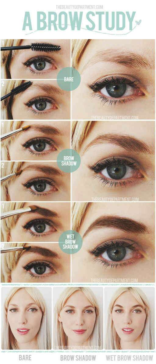 14. Wet the brow brush before dipping it into the brow shadow for stronger-looking brows.