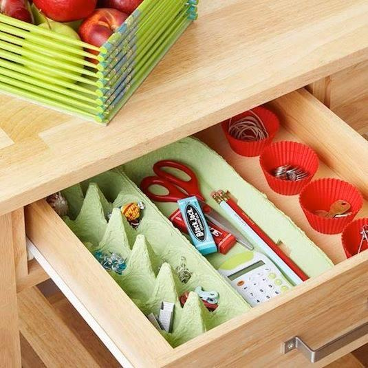 egg carton to hold items in a drawer.