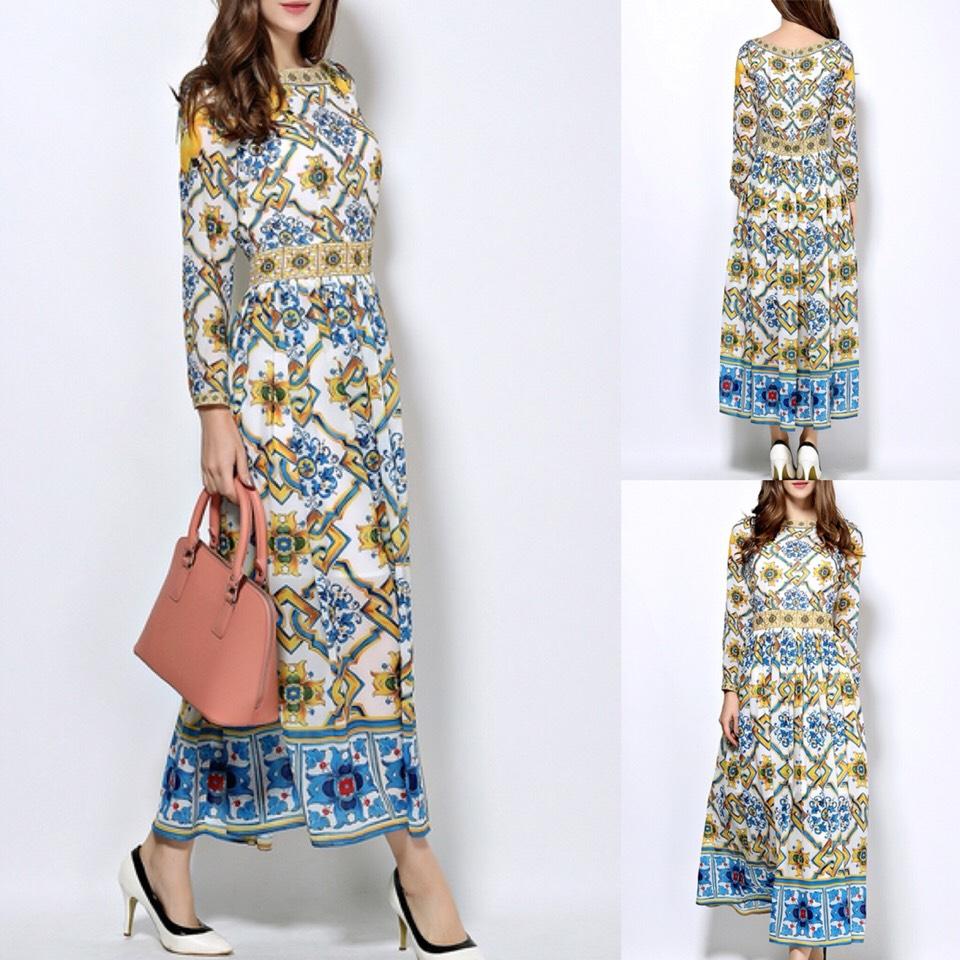 $68.99 http://m.romwe.com/Multicolor-Crew-Neck-Vintage-Pleated-Maxi-Dress-p-150477-cat-664.html