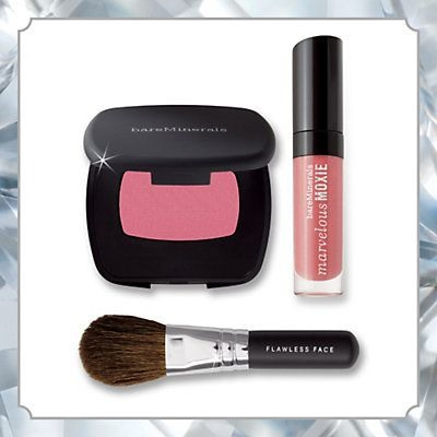 Bare Minerals Pink Persuasion  A girl can get by with just a little color on the lips and cheeks. I love this duo of the perfect pink for cheek and lips, not to mention the adorable mini blush brush. For the girl that can't get enough of her pink lip gloss!  Get it at Bare Minerals $19