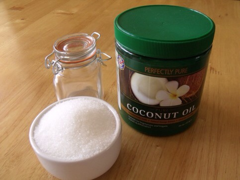 9. In a luscious body scrub:  Melt 1/2 c of coconut oil at very low heat. Pour it over 1 c of brown sugar or salt and stir well. If you have some on hand, add in five drops of your favorite essential oil or some pure vanilla extract for a scrub so fragrant you'll want to eat it.