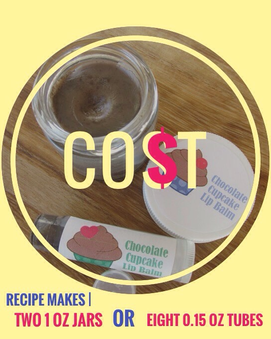 Thiscosts approximately $2.50 per 1 oz jar or $0.65 a tube;includes the cost of $.30 for an empty lip gloss tube or $1.10 for a glass jar.Bonnie Bell lip gloss come in a tube + cost about $1.80/tube or $14.40/8 tubes.  That's a savings of $12!