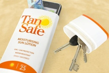 Put phone, key, money, etc. inside sunscreen case to keep them from getting sandy