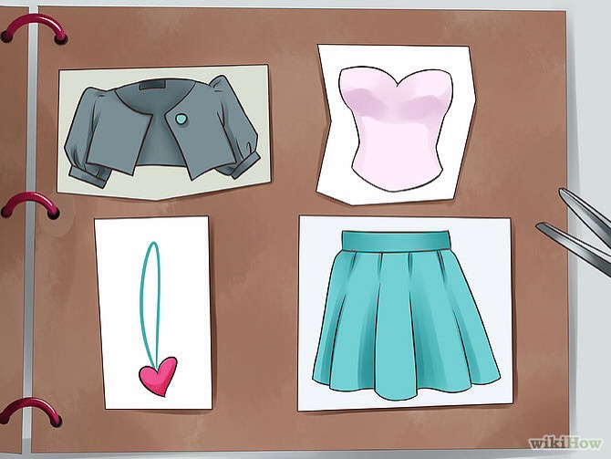 Create your own fashion journal. Cut out clothes or styles that you like and paste them into your fashion journal. Write down a couple of your favorite outfits and say how you feel in them. Draw outfits on people, for different body sizes and shapes. What suits people.