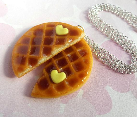 """This syrupy set of waffle medallions.  """"We need to remember what's important in life: friends, waffles, work. Or waffles, friends, work. Doesn't matter, but work is third.""""-Leslie Knope  https://www.etsy.com/listing/119964966/polymer-clay-best-friend-round-waffle"""
