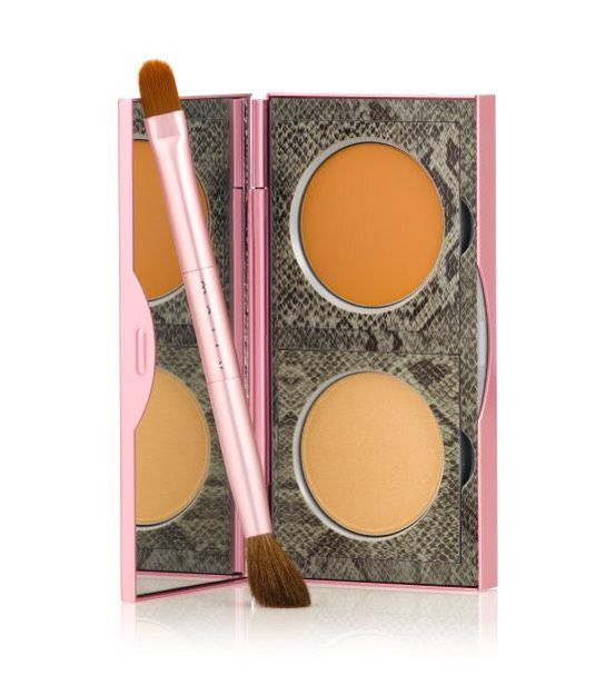 A duo with a setting powder and a concealer is the way to go. First apply the concealer on dark circles or spots, then set it with powder for brightening coverage. Mally Beauty Cancellation Concealer w/ Brush, $35, Ulta