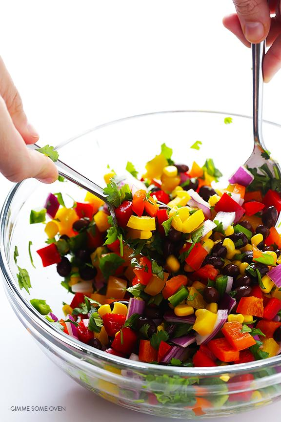 And within about 10 minutes (or however fast you can chop everything up), you'll be ready to taste the rainbow.