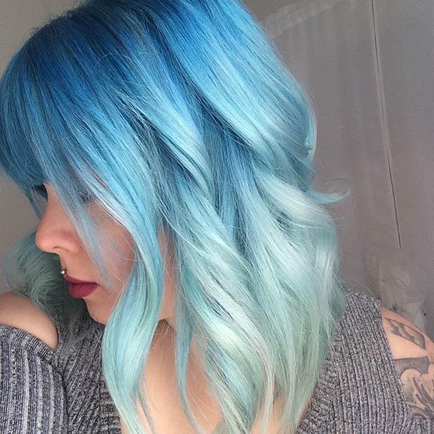 BLUE OMBRE LONG BOB: This stunning ombre hair makes us go blue right away. It's obvious that blue hair isn't just for punkers and cartoon characters anymore, women of all ages are trying out this bold hair trend.