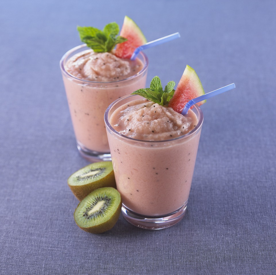 Kiwi and watermelon smoothie  Ingredients: 2 cups seedless watermelon chunks 2 kiwis, peeled and diced 2 cups vanilla yogurt 1 cup ice  Blend it all together. You can also add mint if you want