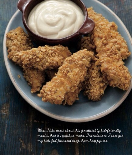 Gluten-free Oven-Fried Chicken Fingers  Ingredients  extra virgin olive oil, for greasing 6 c corn chips, such as Fritos, coarsely crumbled salt and pepper 3 lg eggs, at room temperature 1 1/2 lbs (750 g) chicken tenders 1/2 c mayonnaise 2 Tbsp Dijon mustard 2 Tbsp honey 1 Tbsp fresh lemon juice