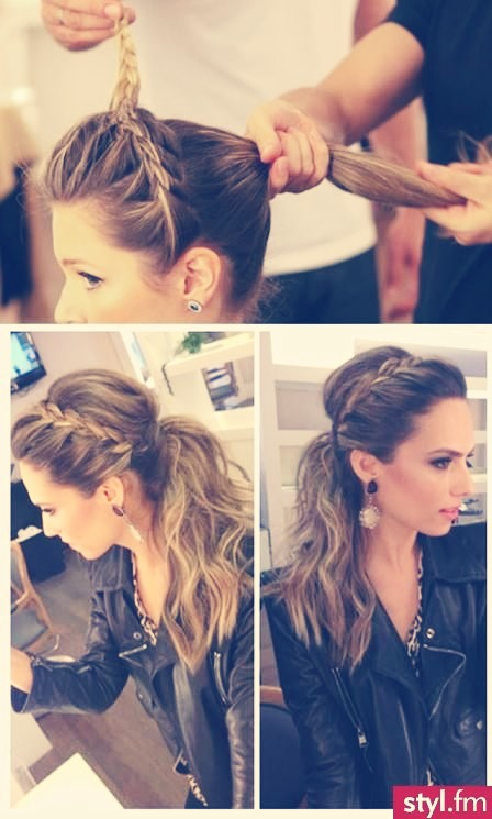 First, braid starting at one ear, doing a French braid from one ear to the other just like in the picture. Second, lift the top portion of your hair on the top and move to the side, and take layers of hair underneath, --- continued on next pic