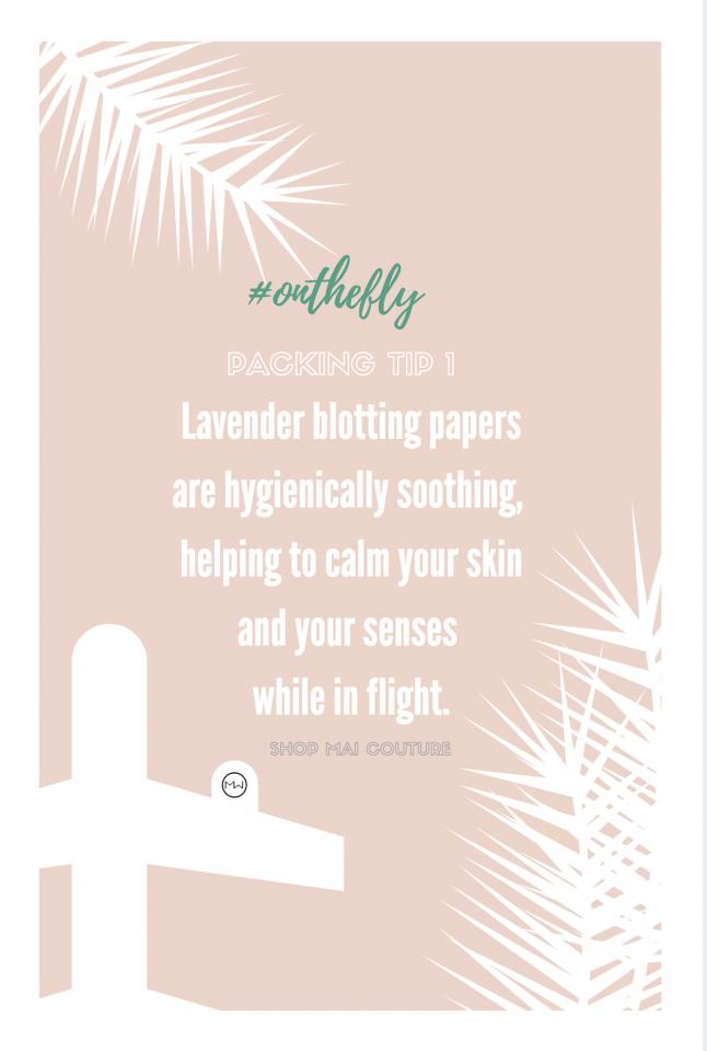 #onthefly with soothing and calming lavender blotting papers.
