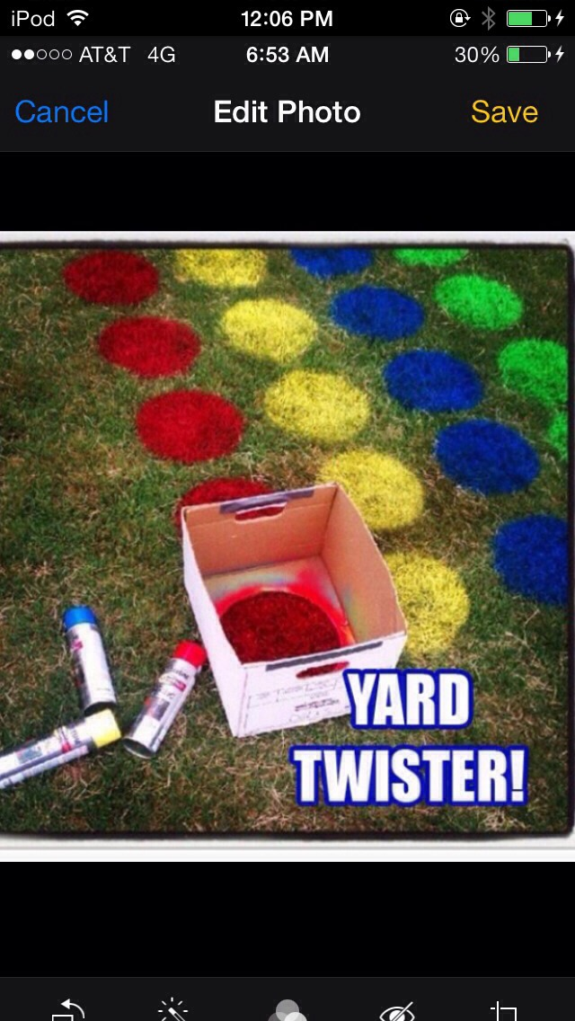 Cut a circular hole in the bottom of a box, spray paint evenly the colours in a column