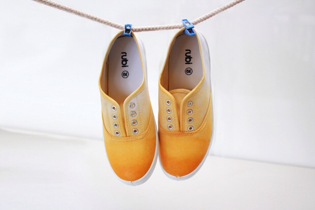 6. When you are happy with the colour, allow to sit for five minutes and then rinse the shoes under running water until the water runs clear. Hang to dry overnight.