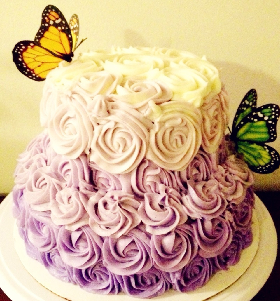 Butterfly bloom cake