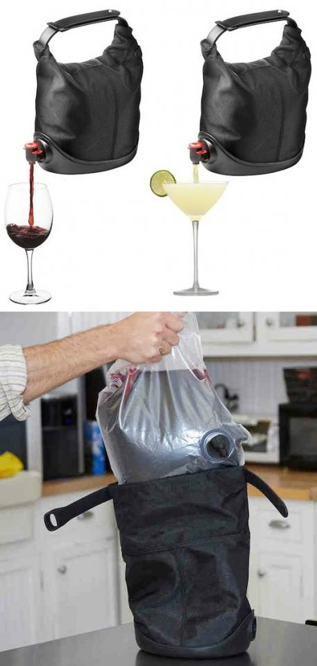 16. Wine & Beverage Tote A drink with a handle– yeah. This beverage tote is ideal for a party on-the-go or brining your favorite drink to a party with ease. There is also room for a cold pack to keep it chilled if needed.  Check out here -- http://www.amazon.com/gp/product/B000U81WZY/