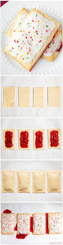 What about some homemade poptarts?? This last summer recipe I've got for you is so easy and super fun to make. And don't just stop at strawberry filling! Blueberry, brown sugar cinnamon, pumpkin pie.. anything you'd like! Let's get going.  http://www.cookingclassy.com/2014/05/homemade-pop-tarts/