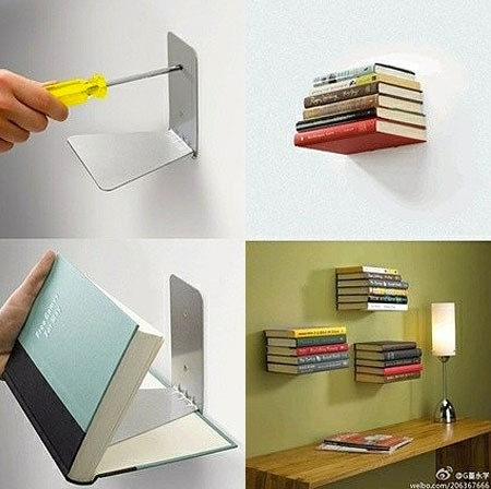 USE BOOK ENDS AS FLOATING BOOKSHELVES! IT LOOKS SO COOL!!!