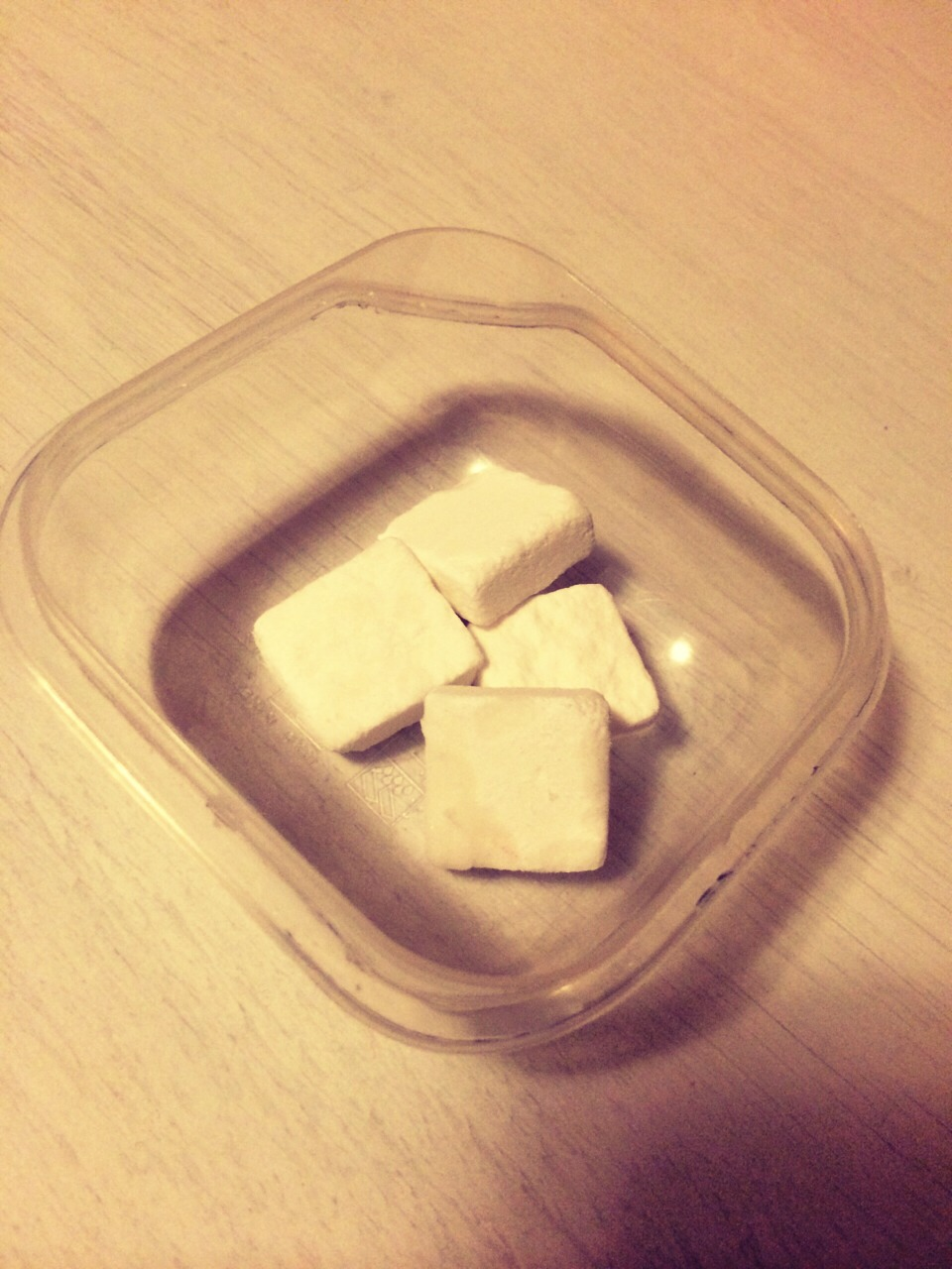 Start off with 4 sugar cubes or any kind of white sugar you have, and put it in a small container.