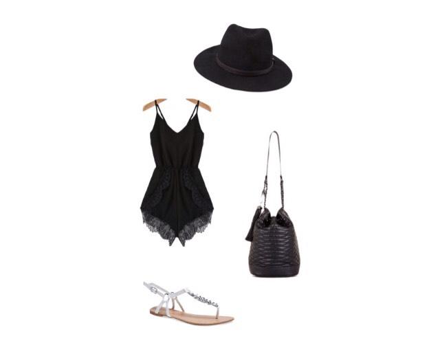 Romper - romwe.com  Shoes - wetseal.com  Bag - bcbg.com  Hat - forever21.com