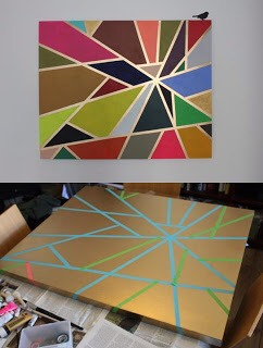 1. Spray paint canvas desired color of your lines and let dry. 2. Apply painters tape. 3. Paint sections different colors with acrylic paint. 4. Reward yourself for being crafty and frugal!