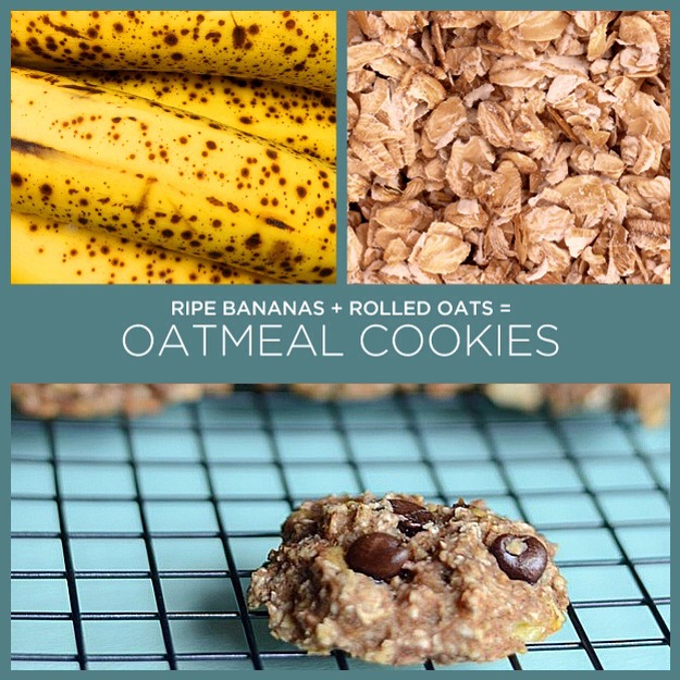 Ingredients:  2 large old bananas 1 cup of  oats (quick or regular! if you use regular, we'd suggest chopping them a little so everything holds together better)  for 16 cookies