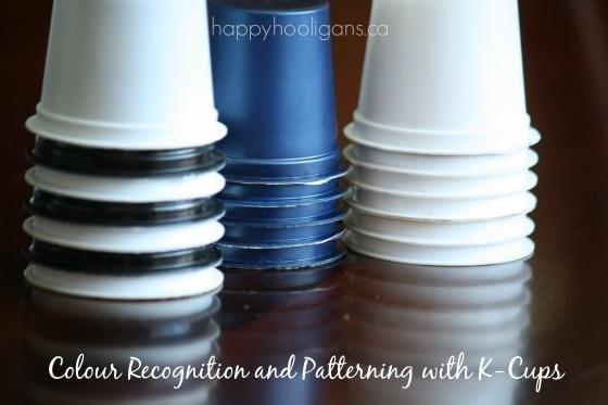 8. Use your K-cups for colour recognition and patterning activities with your toddler.