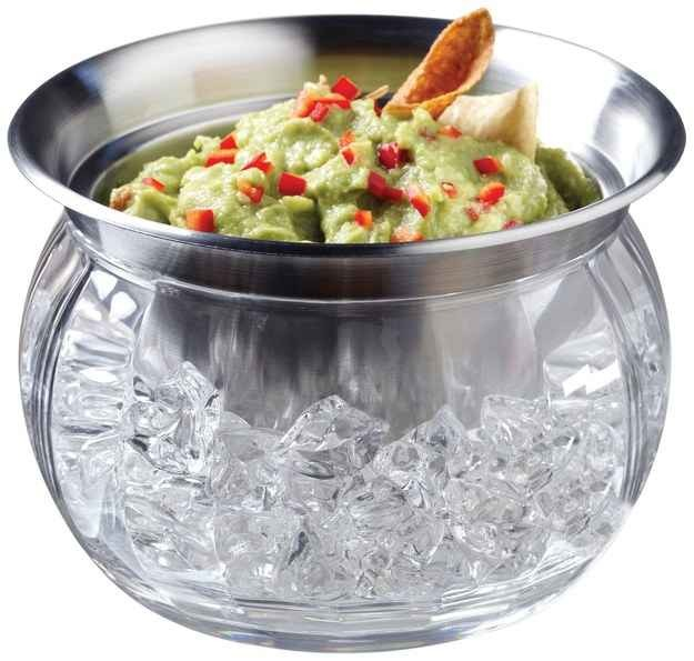 Dip bowl with compartment at the bottom to keep cold dips cold during the heat. Available at amazon.com for 19.71