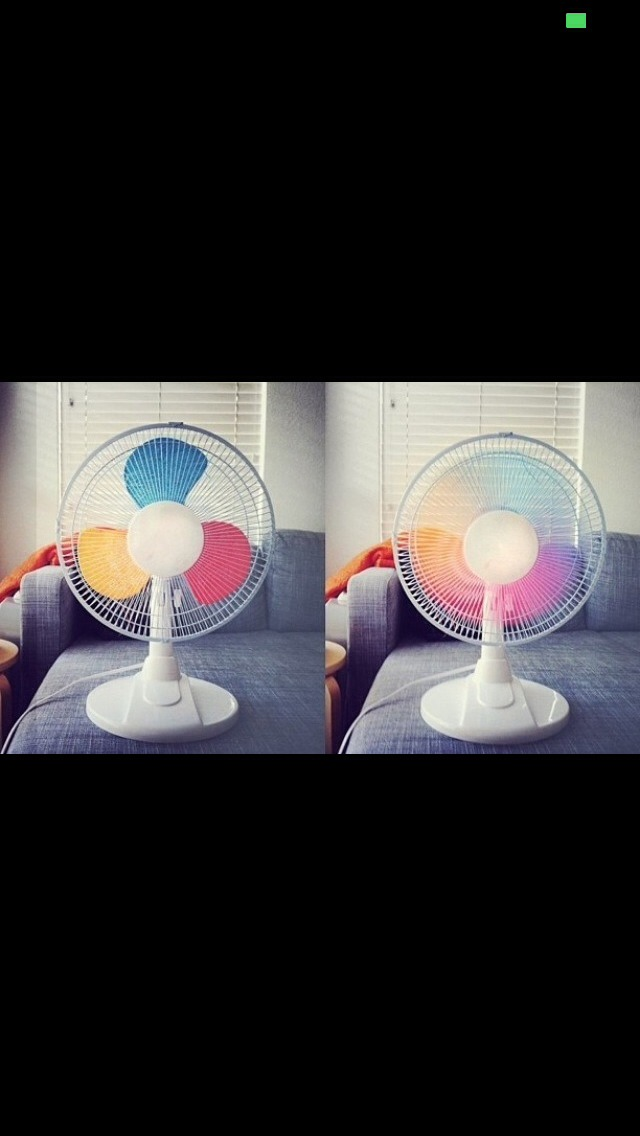 Paint the parts of the fan and then when you turn it on, it'll create a rainbow effect