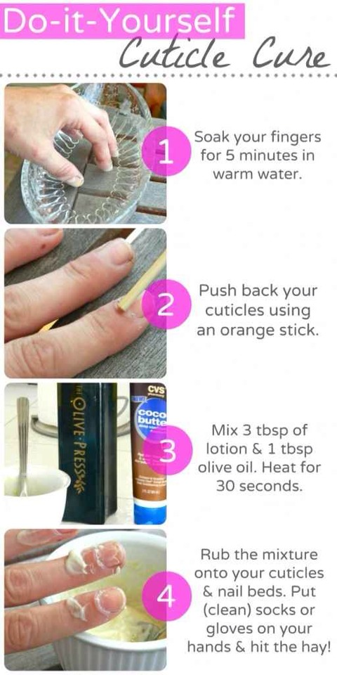 You can make your own overnight cuticle treatment out of olive oil and cocoa butter: