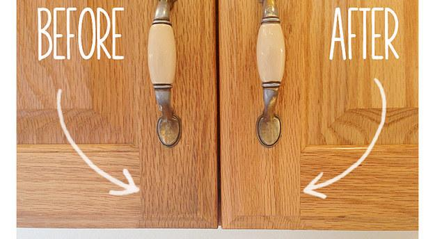 27. Get the grime off the front of your cabinets with baking soda paste.