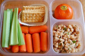carrots, celery, crackers, white bean tuna salad, clementine