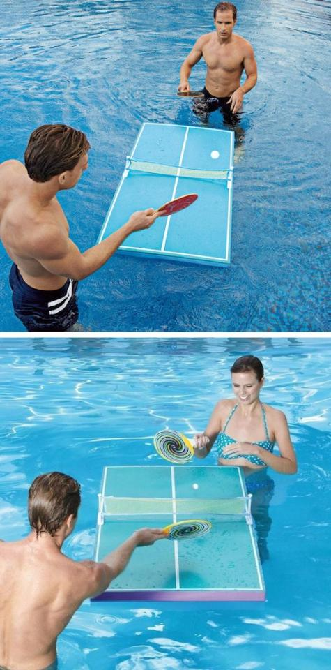 9. Floating Ping Pong Table Just when you thought ping pong couldn't get any better– now you can play it in the pool! The board seems quite a bit smaller than a traditional table, so it would take some time to get use to.