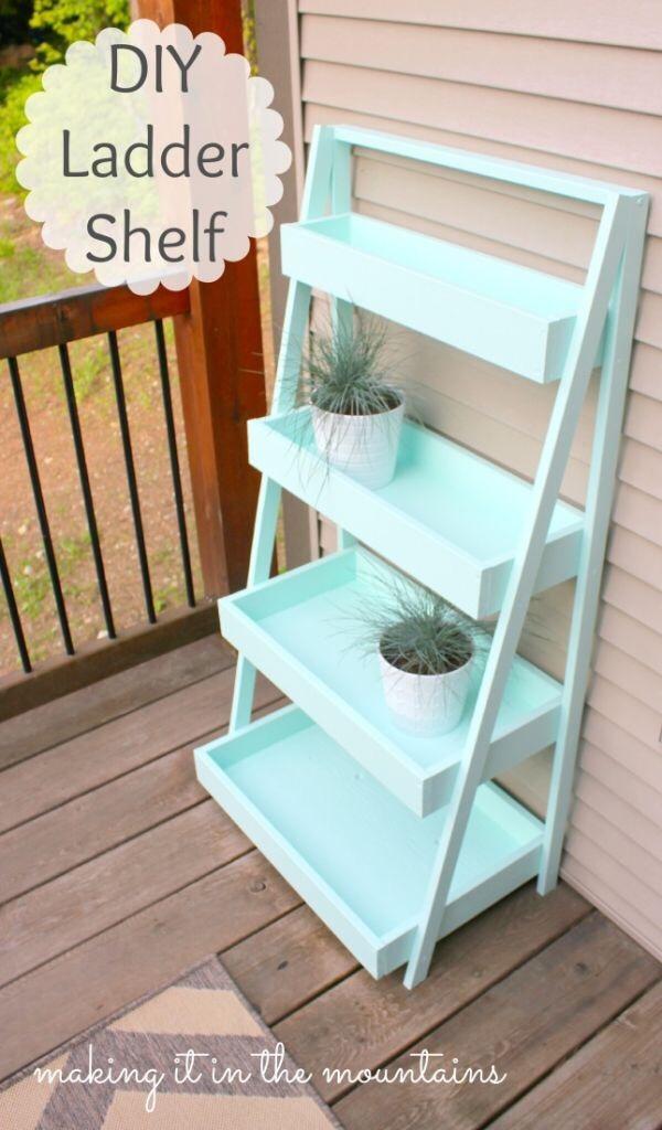 http://www.makingitinthemountains.com/diy-ladder-shelf/