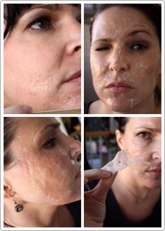 Apply using popsicle stick/oldmakeup brush.  Let sit for 15 minutes or so.  Start peeling it off!  That's it.