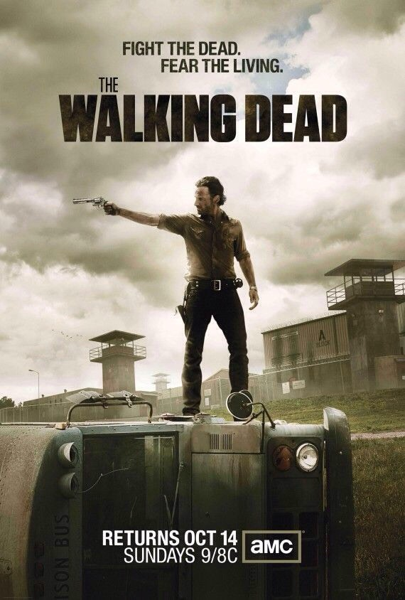 The Walking Dead a post-apocalyptic horror drama television series. It starts with the sheriff's deputy awaking from a coma to find his world dominated by flesh eating zombies.